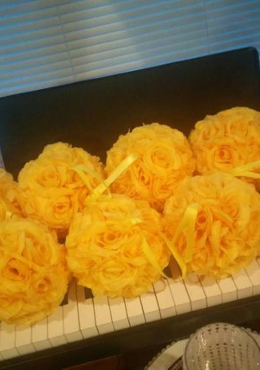 Set Of 10 Yellow Silk Rose Pomanders/ Aisle Decor/ Centerpieces