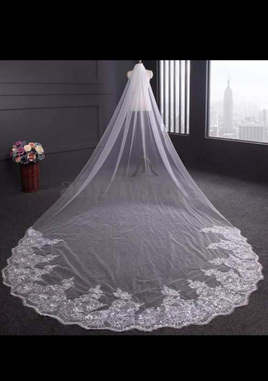 New White Or Ivory 13 Foot Cathedral Wedding Veil With Comb