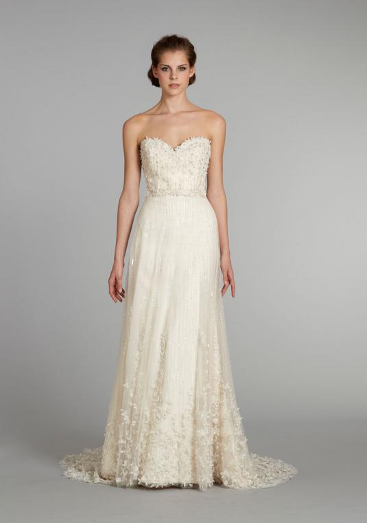 NEVER WORN Lazaro 3261 Hand-embroidered A-line Sweetheart