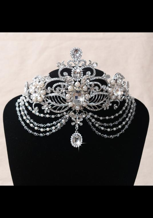 New Pearl Large Dangle Drop  Crystal Headpiece