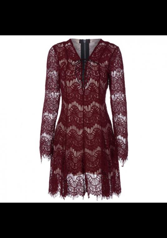 FLASH SALE! New Women's Wine Lace  Dress - Formal Evening Xl