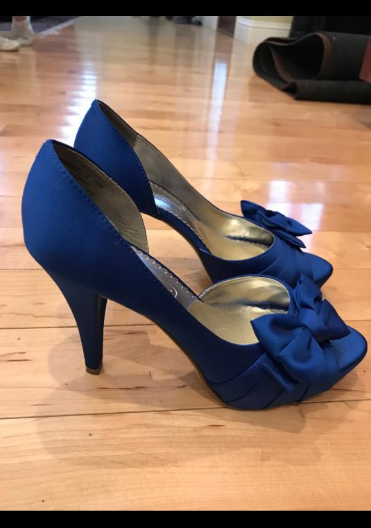 Royal Blue Peep Toe Pumps