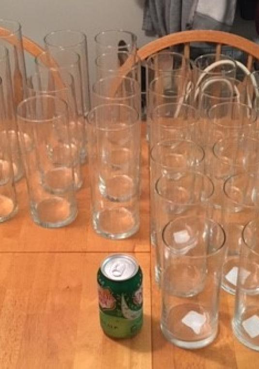 32 Glass Cylinders - Candle Or Flower Holders