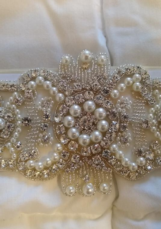 Ivory Rhinestone And Pearl Bridal Sash/Belt