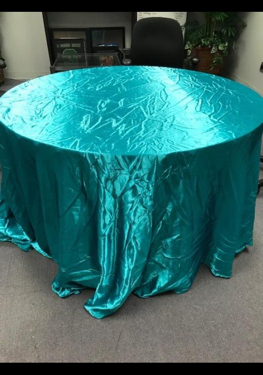 6 Satin Teal 120in. Round Linens
