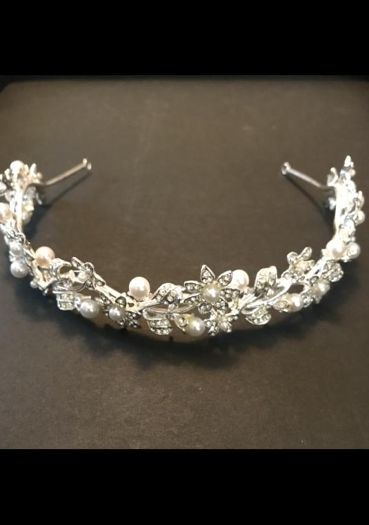 Headband Tiara With Pearls And Crystals