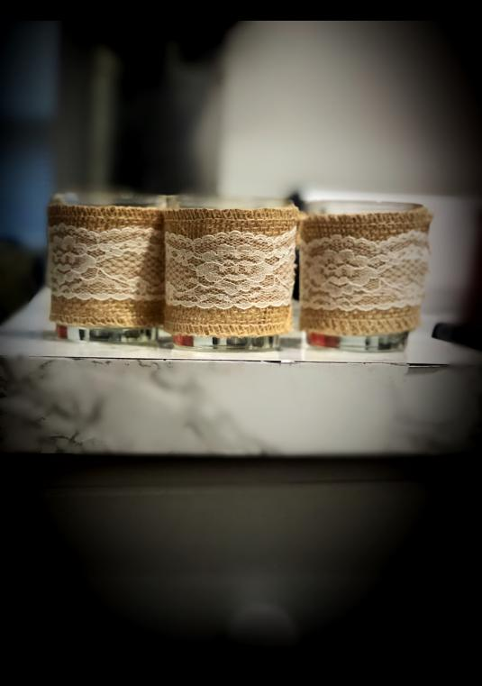 31 Burlap Lace Candle Holder