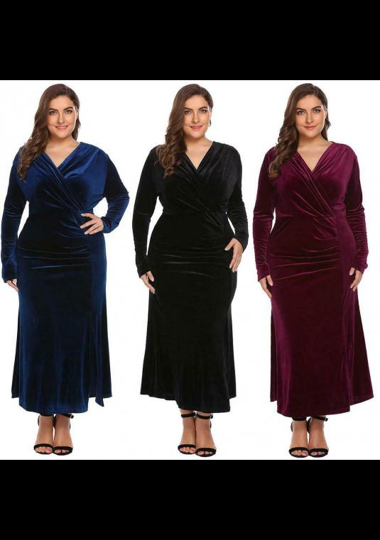 New Velvet Plus Size Wrap Wine, Black Or Dark Blue