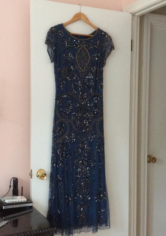 Pizarro Nights,  Short Sleeved Beaded Long Gown, Petrol Blue
