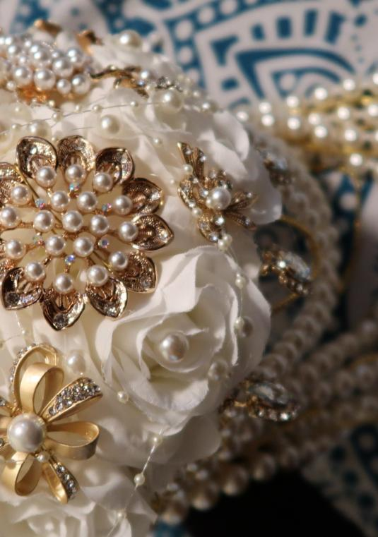 Ivory, Crystal, Gold & Pearl Brooch Cascading Boquet