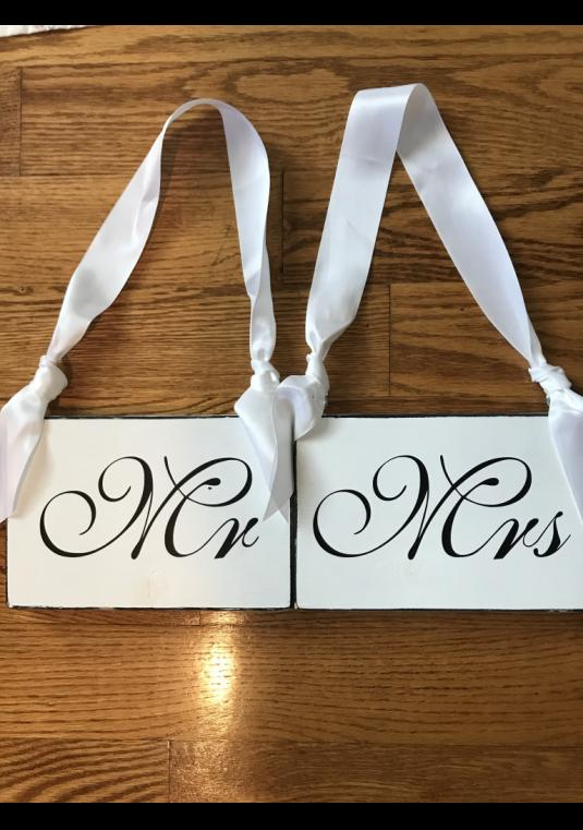 Mr And Mrs Hanging Chair Signs