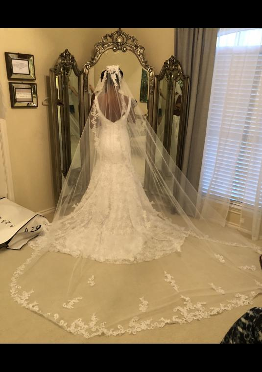White Cathedral Length Lace And Sequin Applique Comb Veil