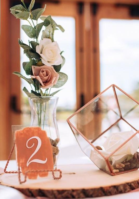 Rose Gold Glass Table Numbers (with Stand)