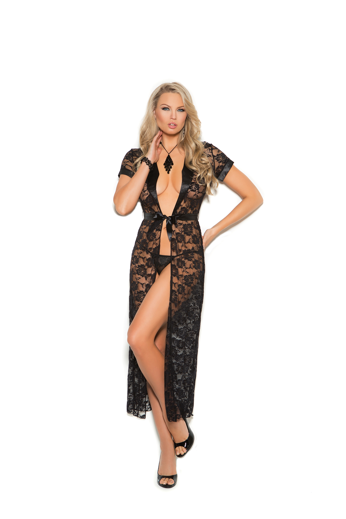 New Black Lace Robe & Panty Set