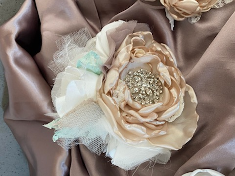 Beautiful Handmade Broach Bouquet, Hair Clip, Boutonnière, And Cake Topper