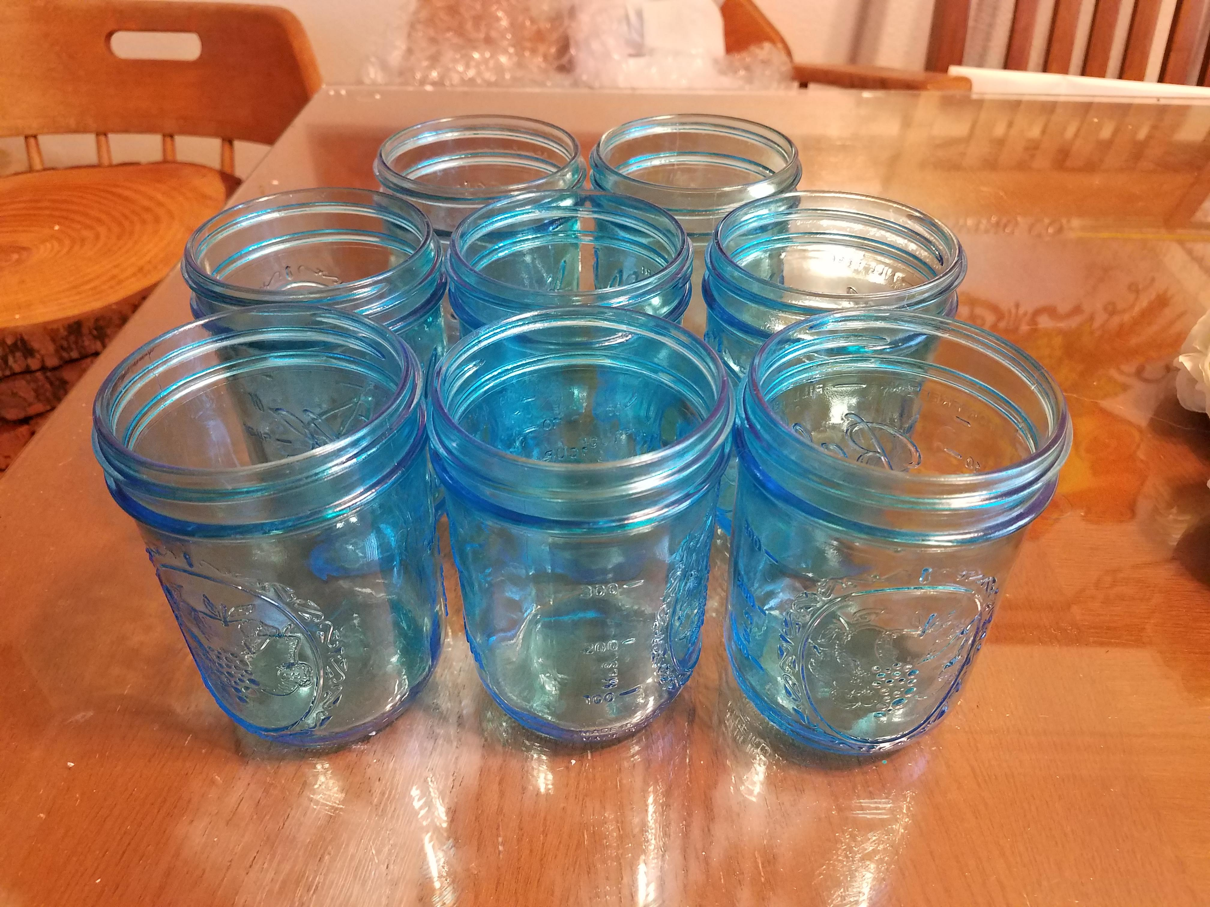 Teal Wide Mouth Mason Jars- 8 Jars