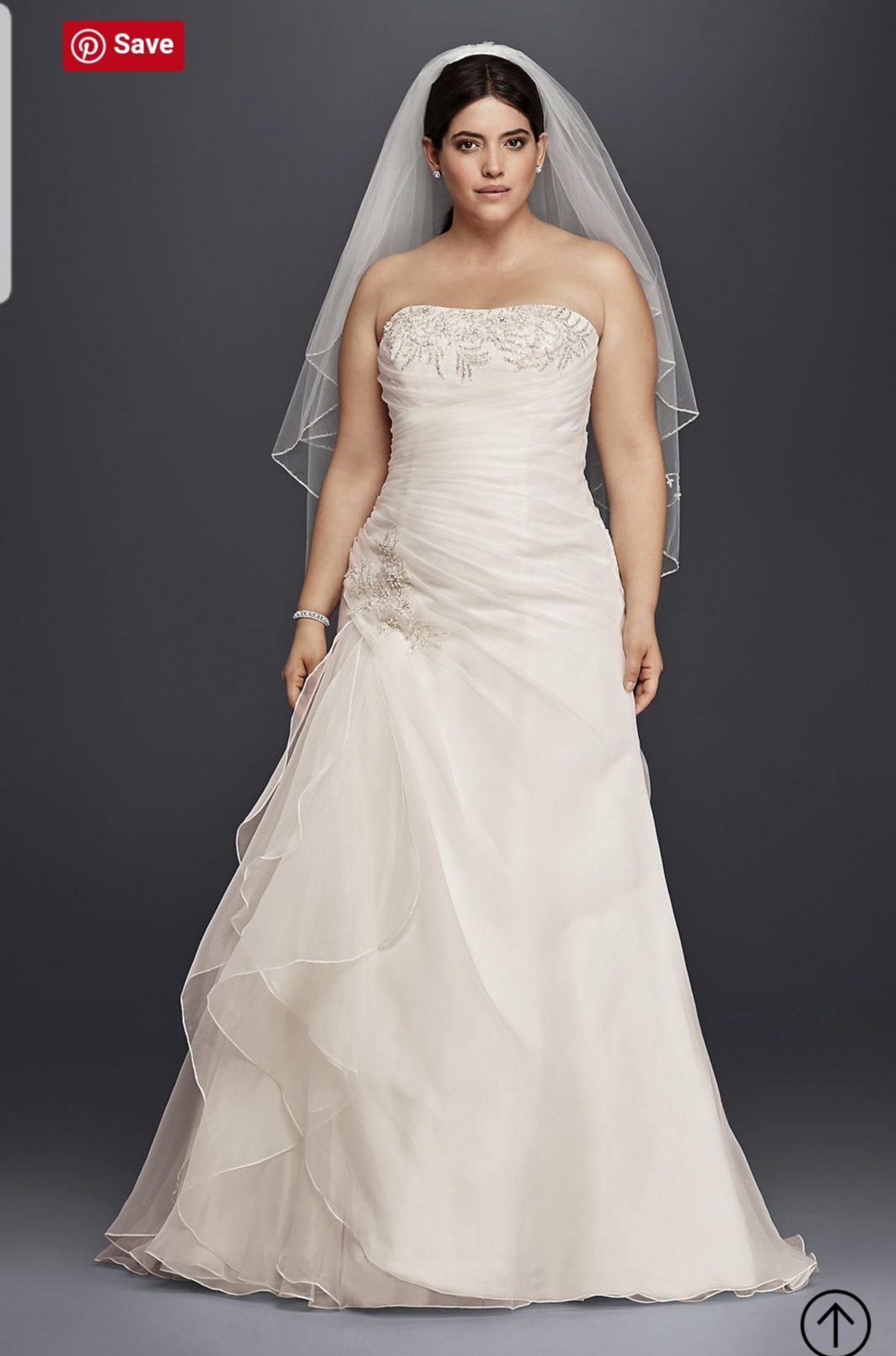 a49d11a077c David s Bridal - Organza   Lace Plus Size A-line Wedding Dress ...