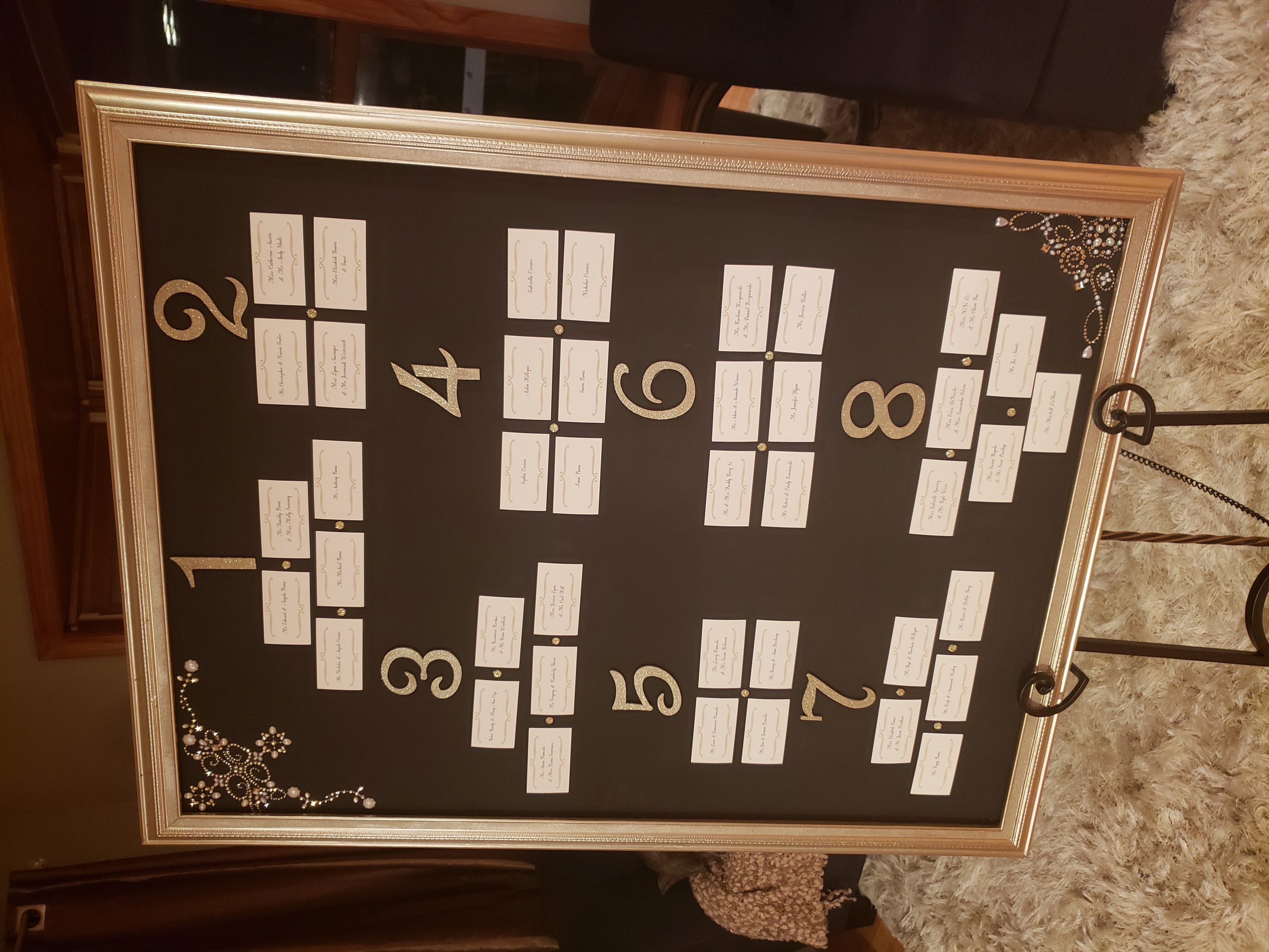 Magnetic Gold Seating Chart Board W. Easel
