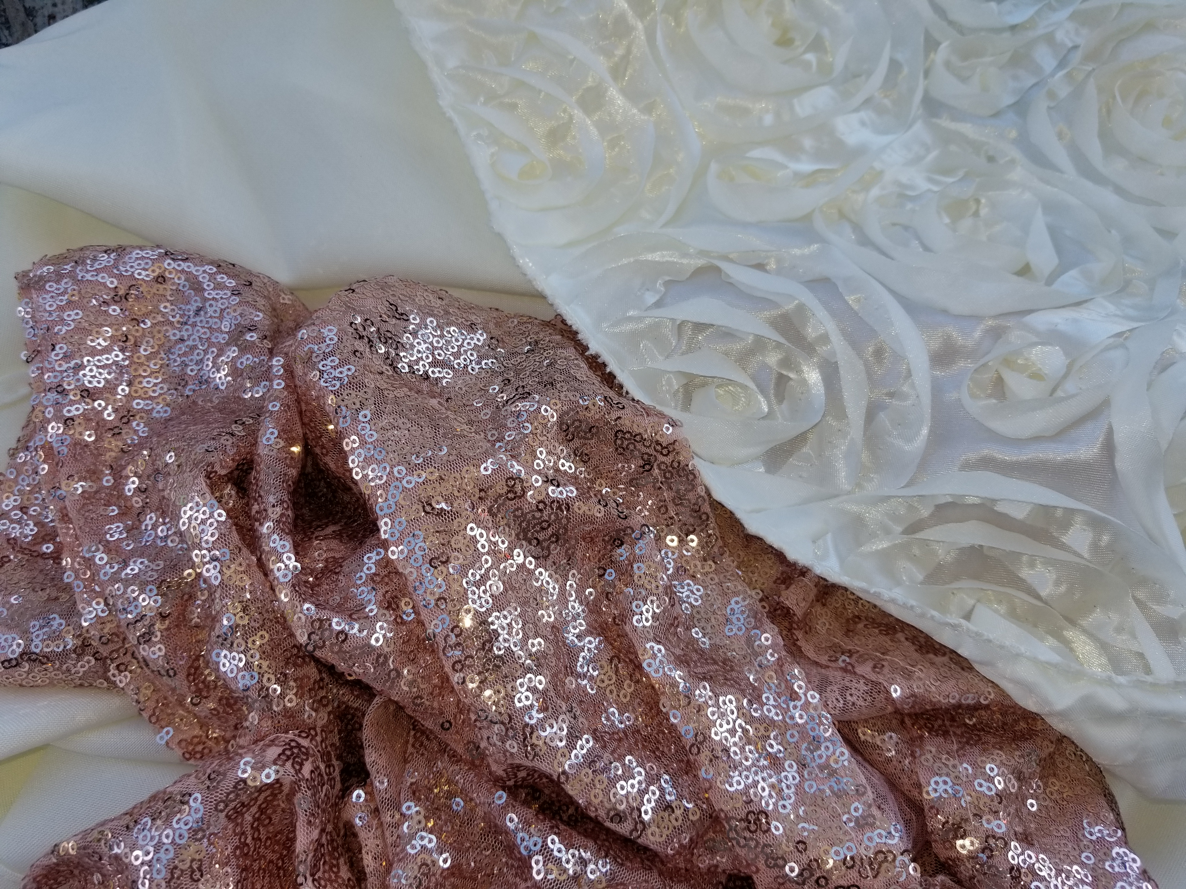 12 Blush / Rose Gold Sequin Table Runners