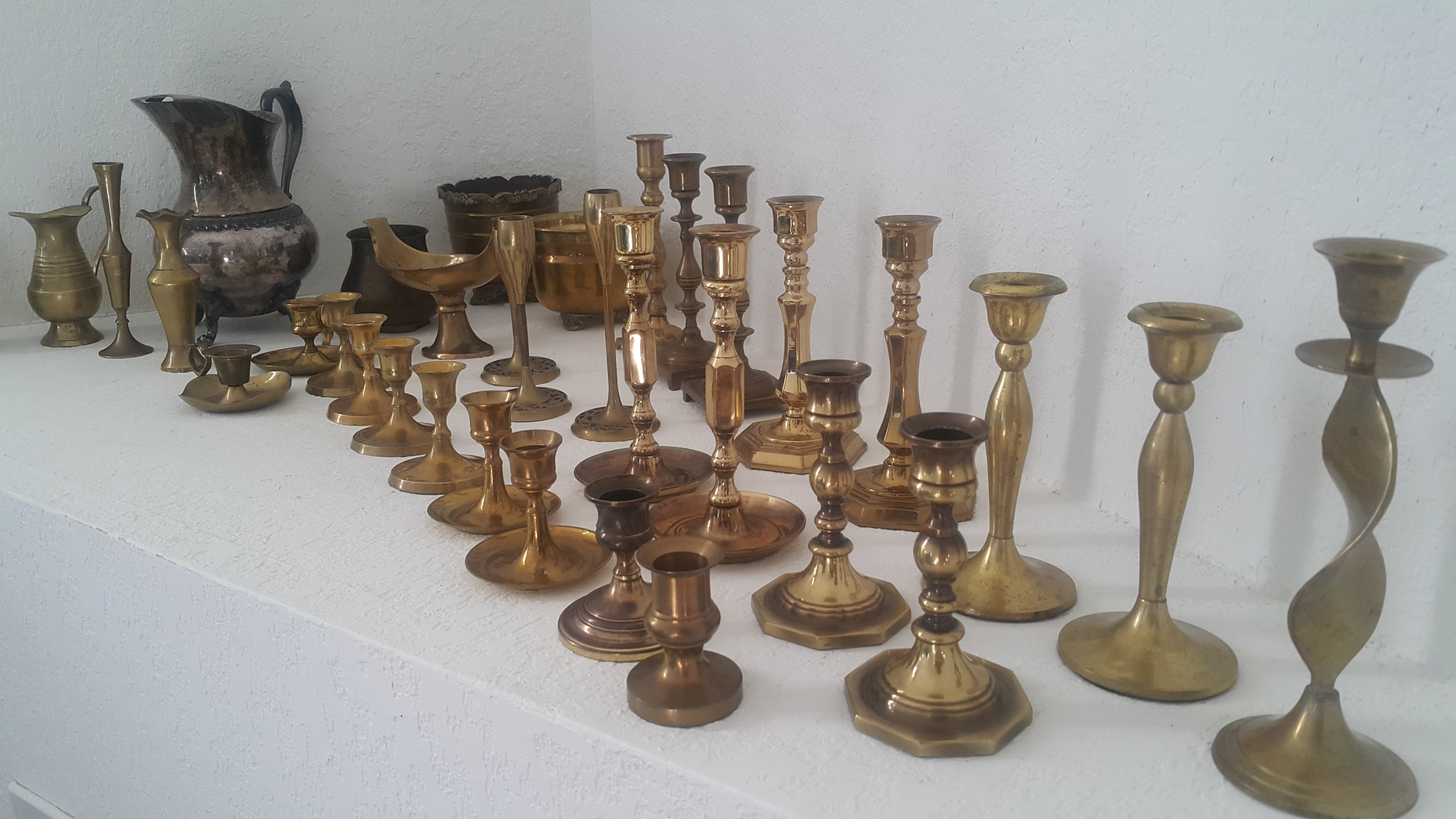 Lot of Vintage Decorative Brass Candlestick Holders and Planters