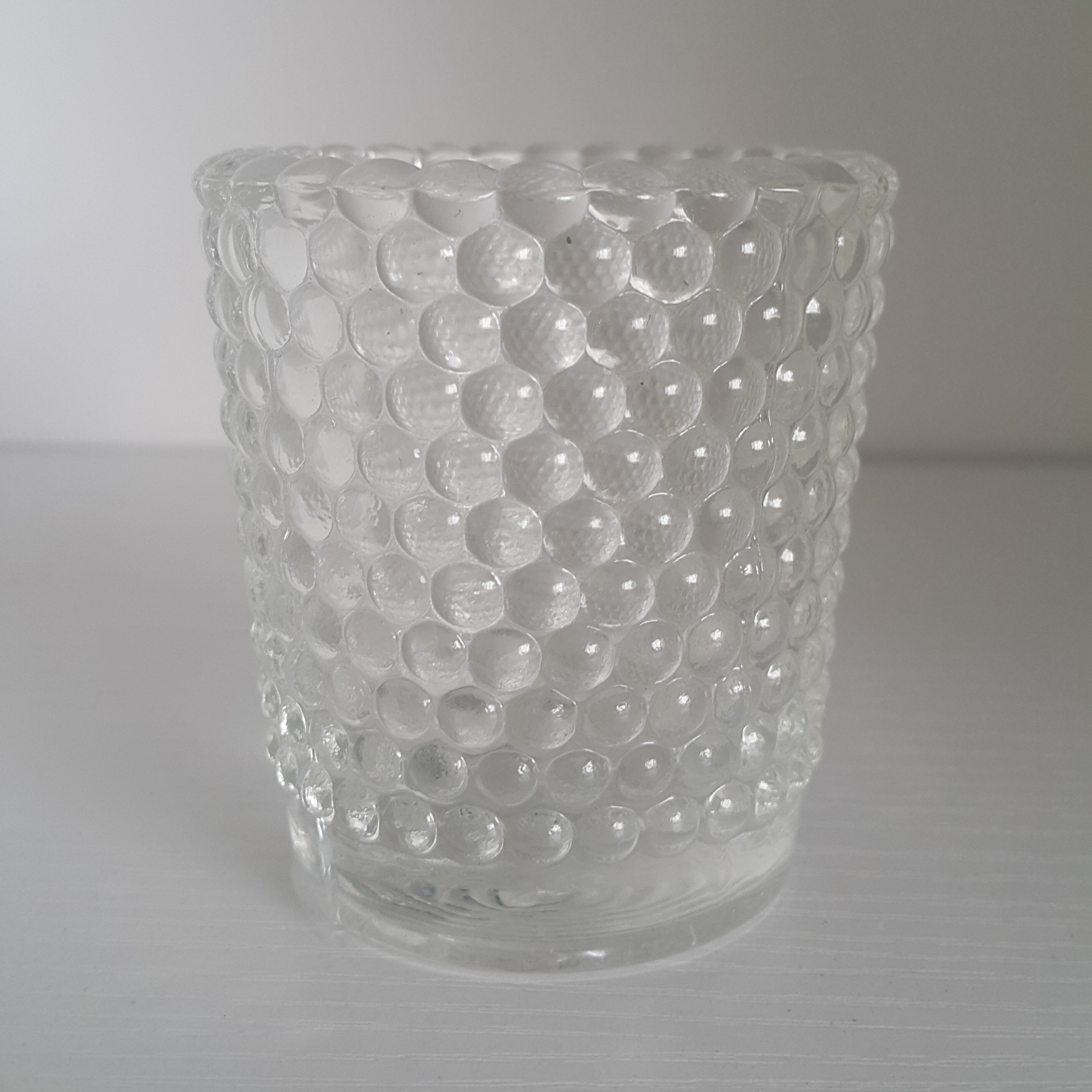 Vintage Style Clear Hobnail Glass Votive Candle Holders, Set of 12