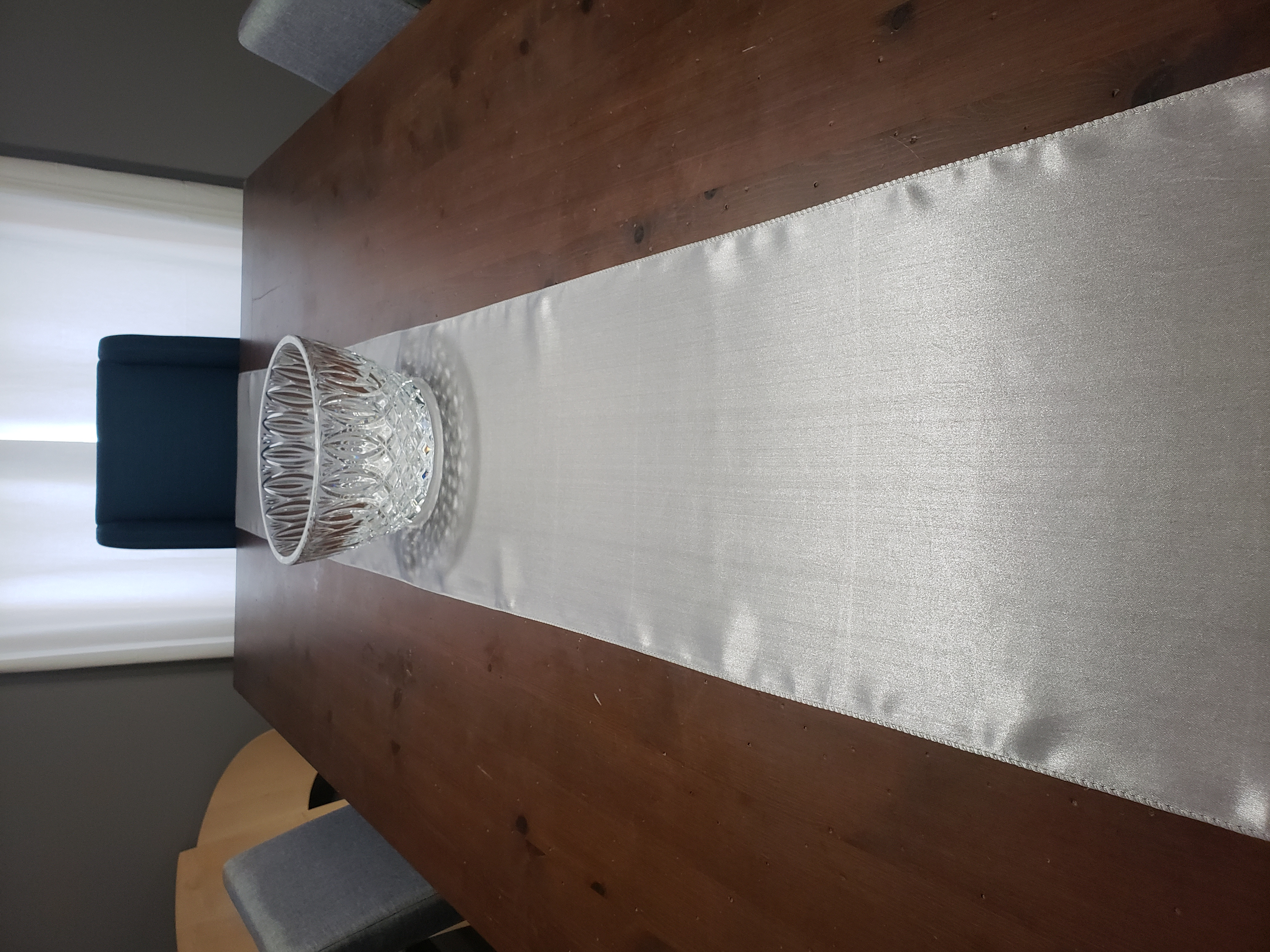 Gray Silver Silk Table Runners
