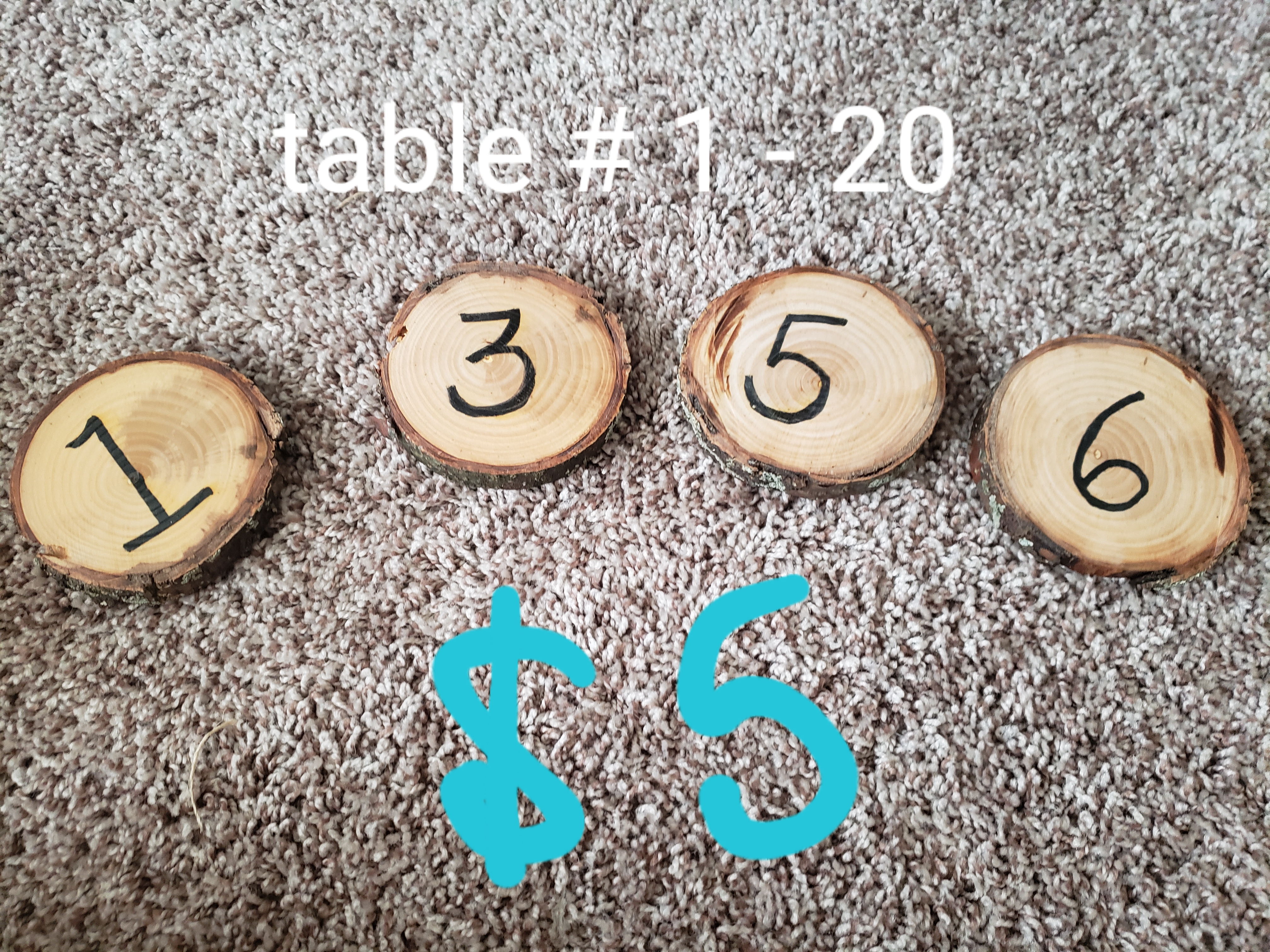 Round Wooden Table Numbers