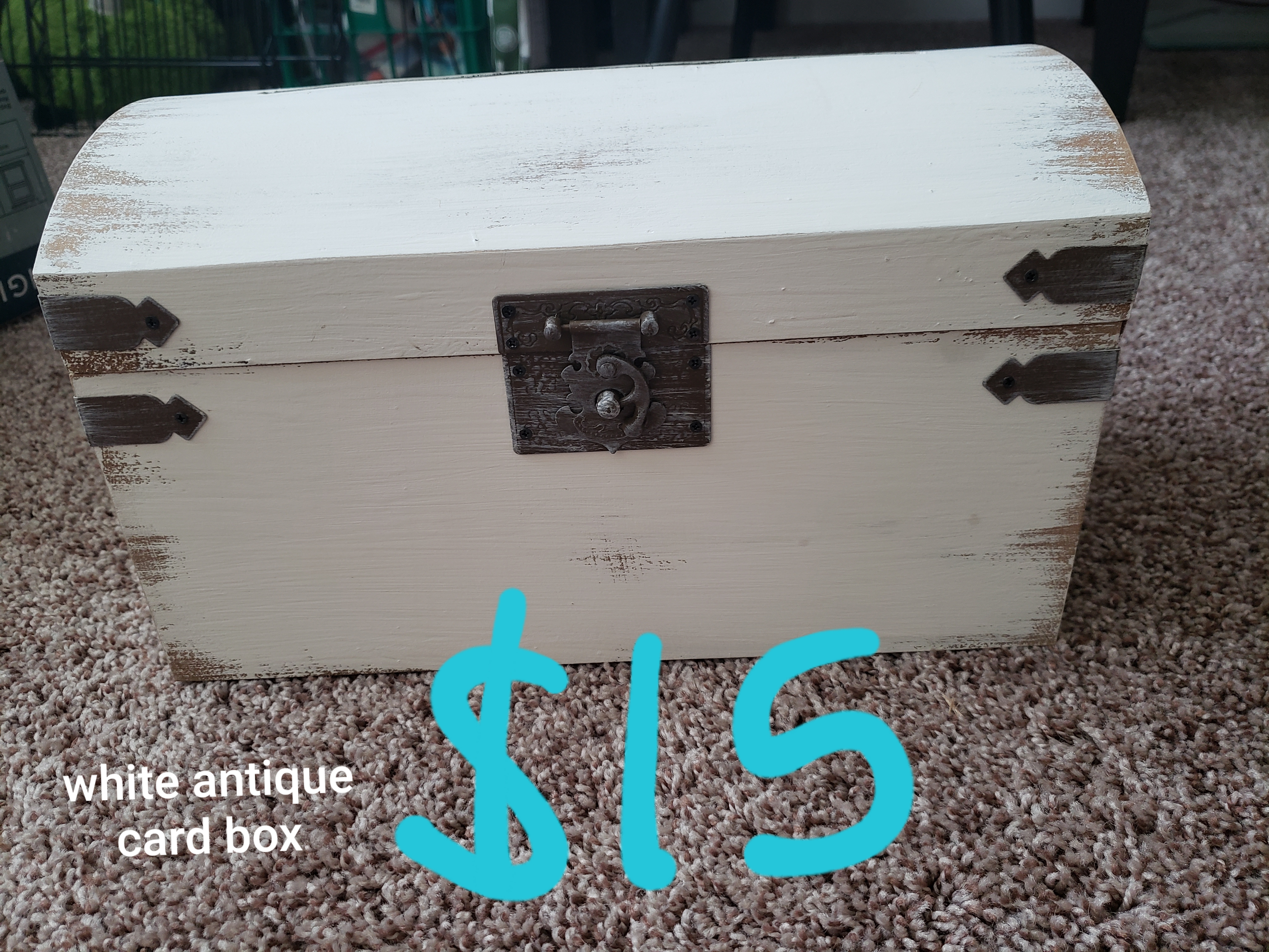 White Antique Card Box