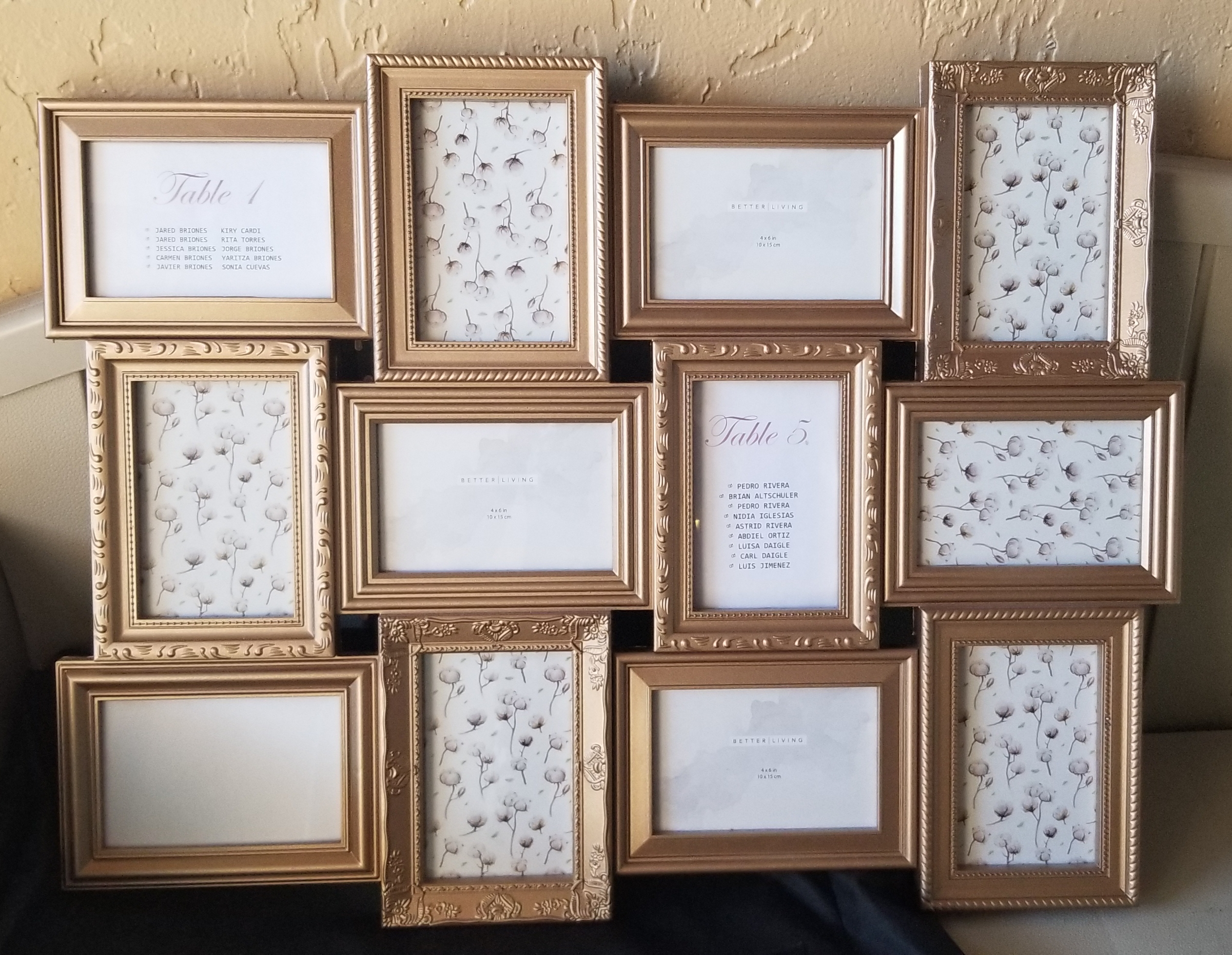 Pictures Frame For Seating Chart