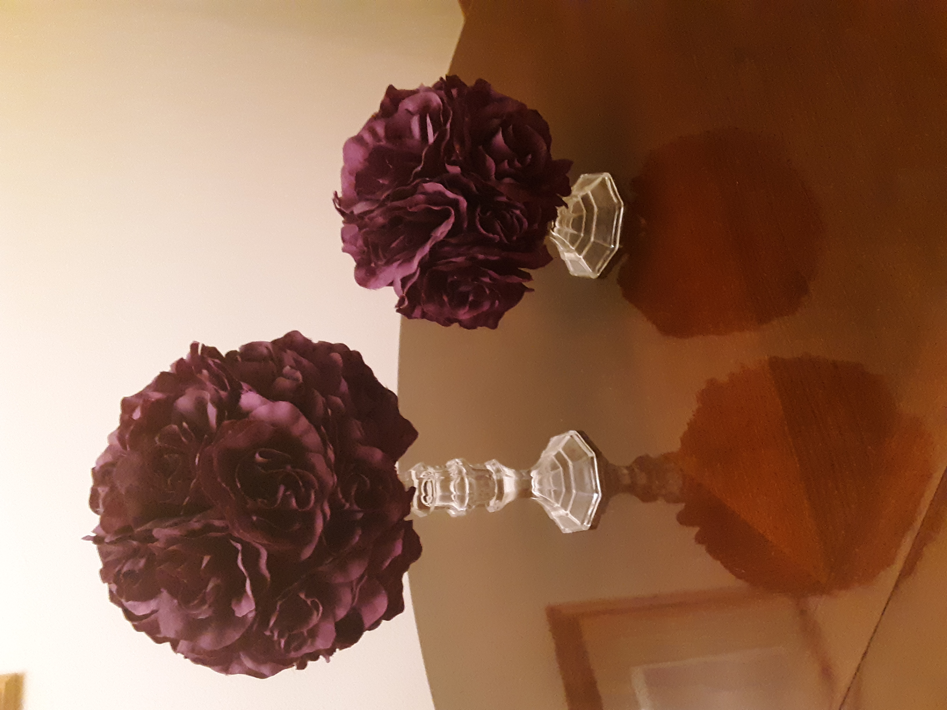 Handmade Dark Purple Floral Centerpieces On Glass Stands, Plus Matching Decorated Box For Cards
