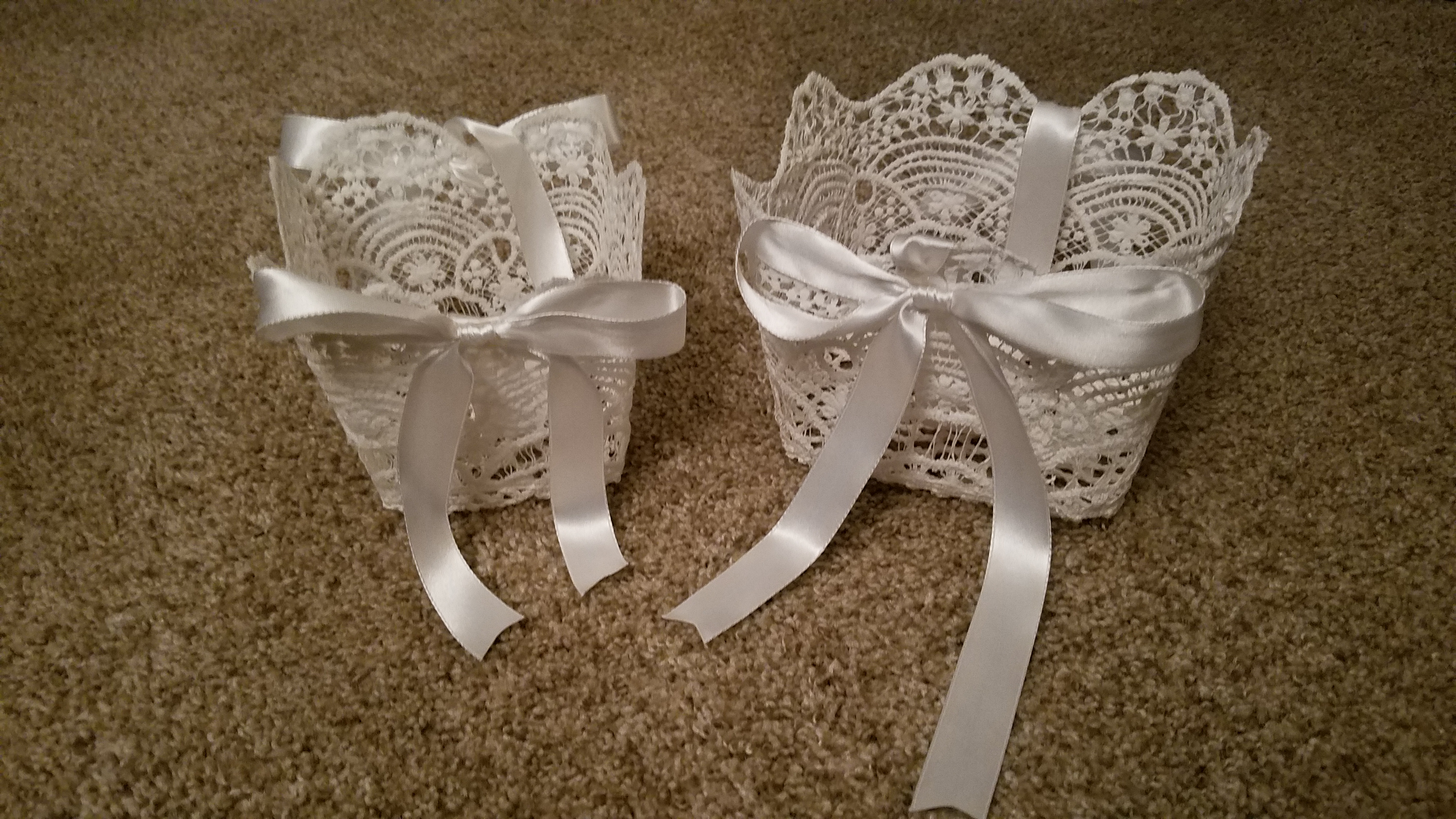 Matching Lace Flower Girl Baskets