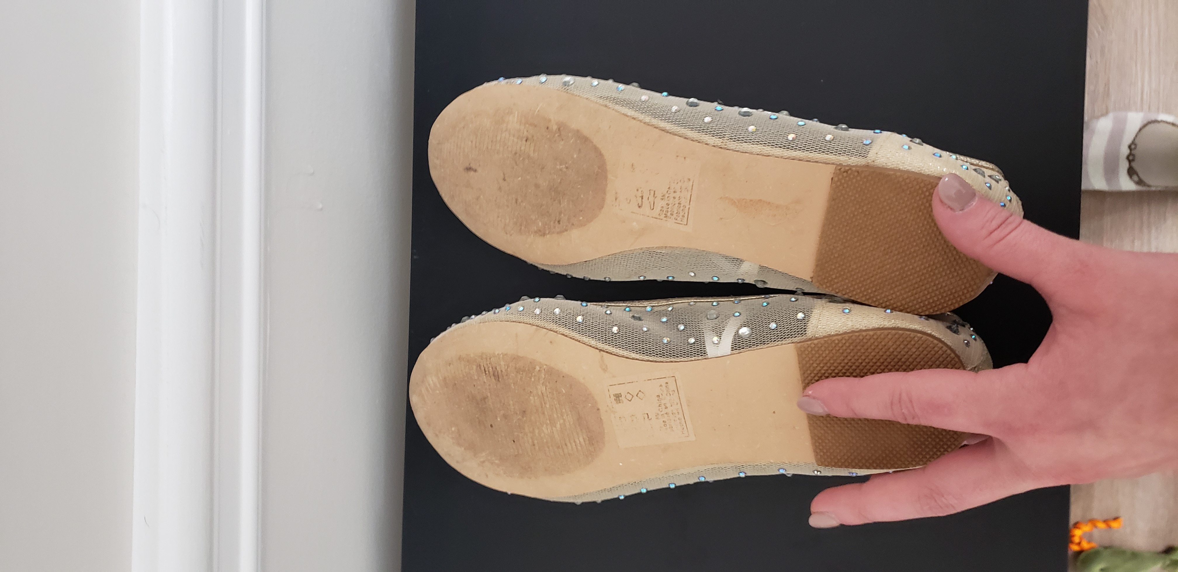 Nude Crystal Flats Size 8