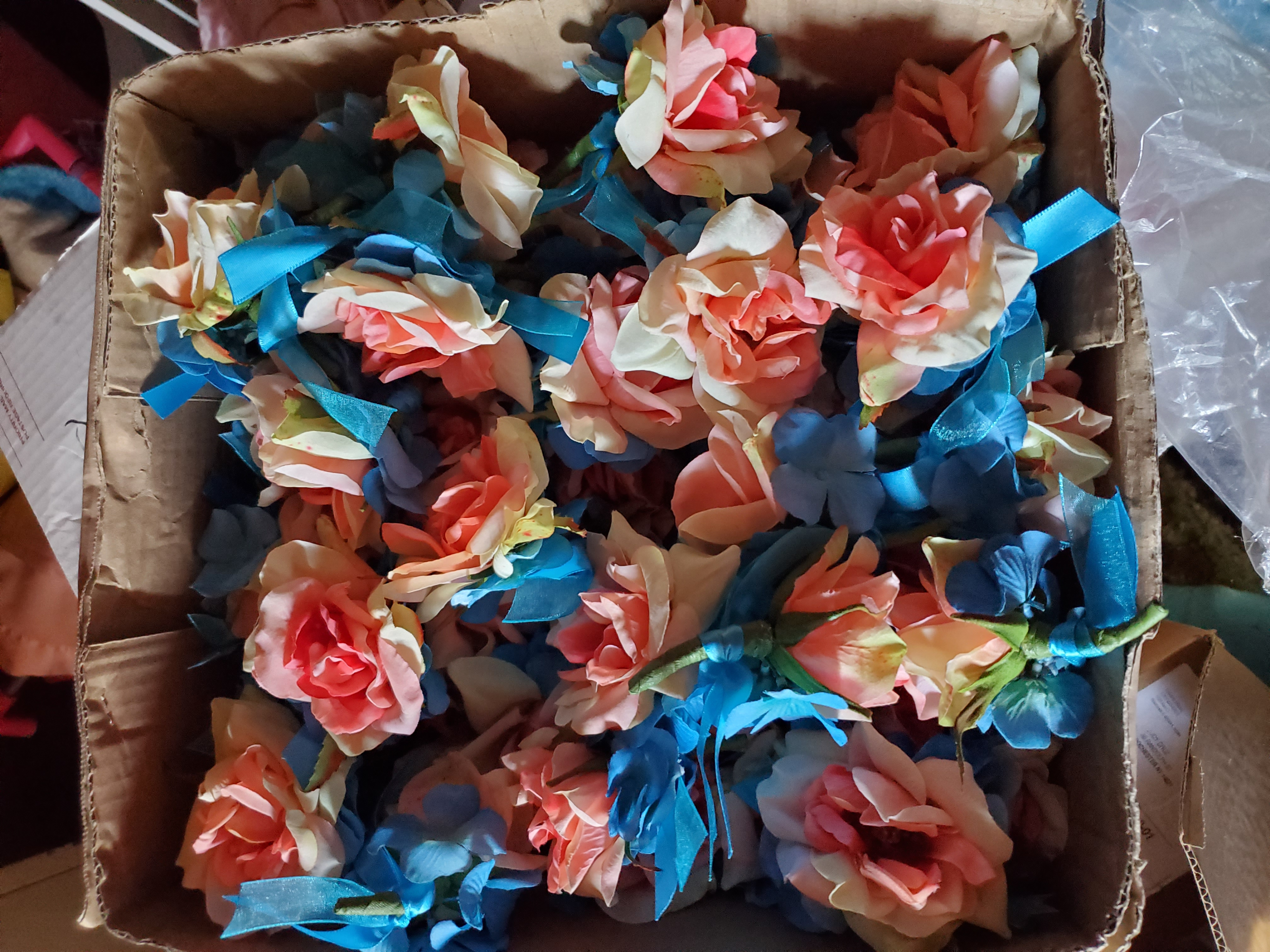 Coral And Blue Single Stem Roses 48 Of Them