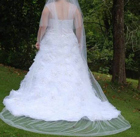 David's Bridal - Capped Sleeve Beaded Wedding Dress