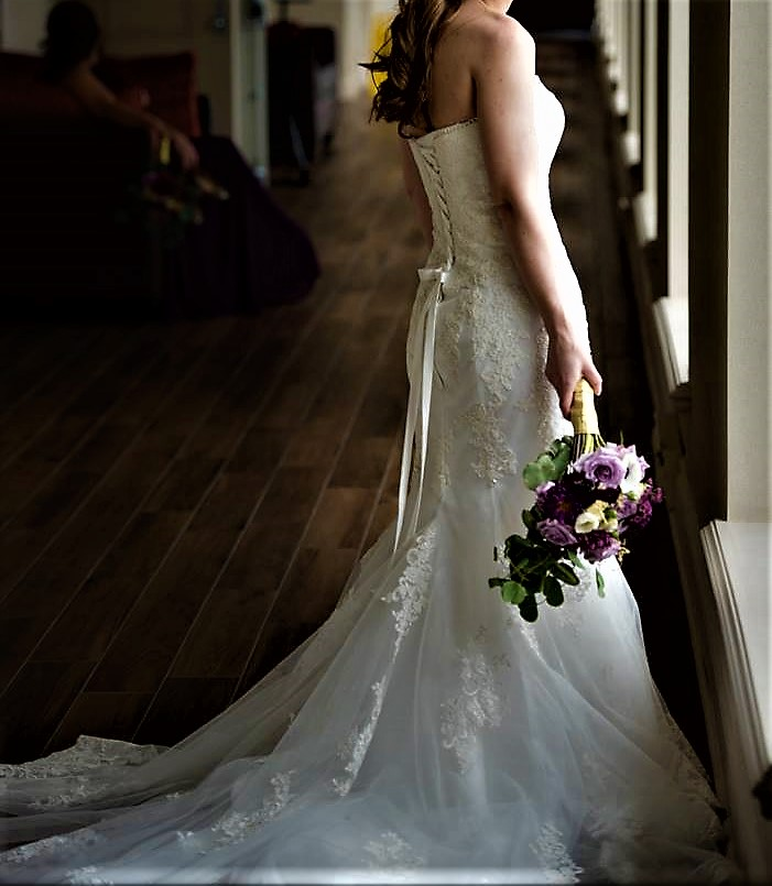 Custom made - Strapless Fit And Flare Lace Gown With Soft Sweetheart Neckline-including Matching Veil & Removable Satin Sash
