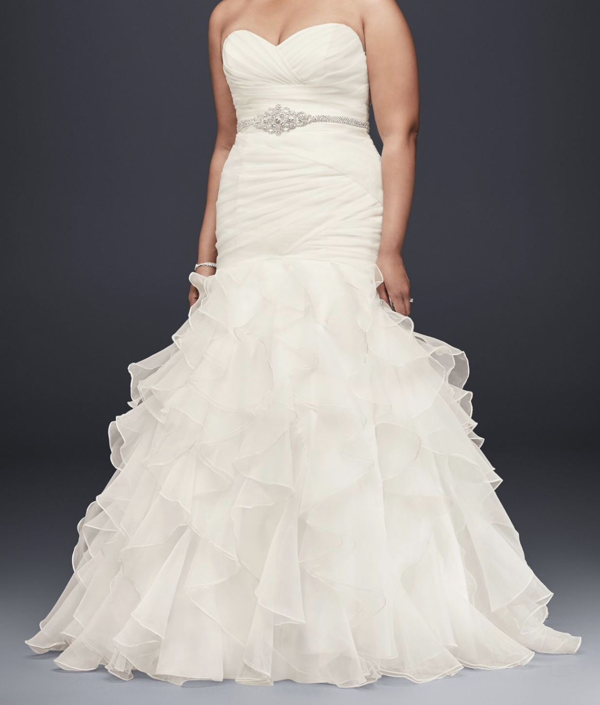 David's Bridal - David's Bridal Mermaid Ruffled Organza