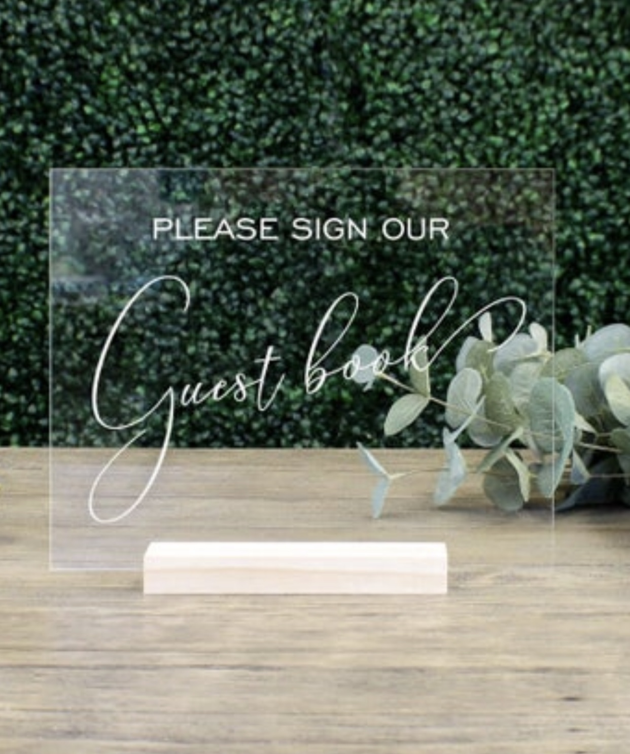 Guest Book Table Sign  & In Loving Memory, Memorial Table Sign || Acrylic Wedding Sign Clear Signage