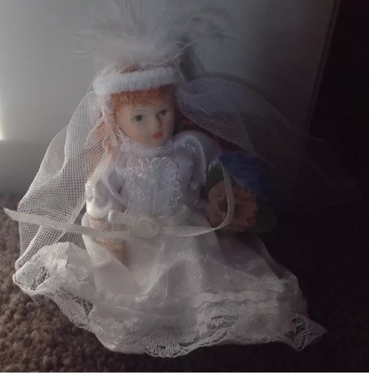 "5"" Porcelain Bride Doll Red Hair Green Eyes"