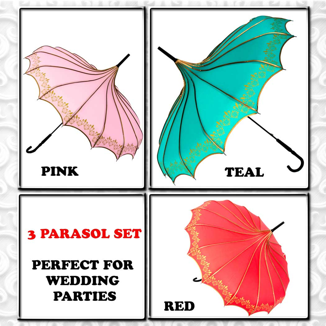 Bridesmaids, Bridal Party Parasol Umbrella Set