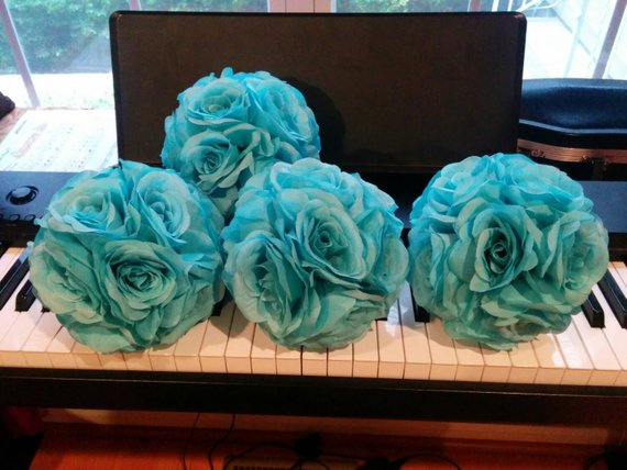 Set Of 4 Aqua/ Blue Silk Rose Pomanders