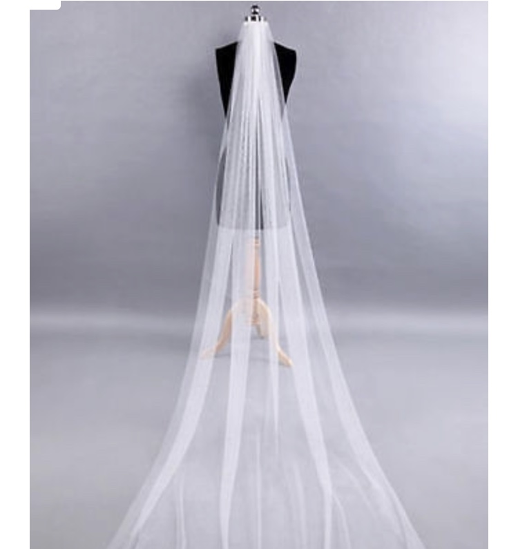 Beautiful Casablanca 2255 Wedding Gown With Cathedral Veil