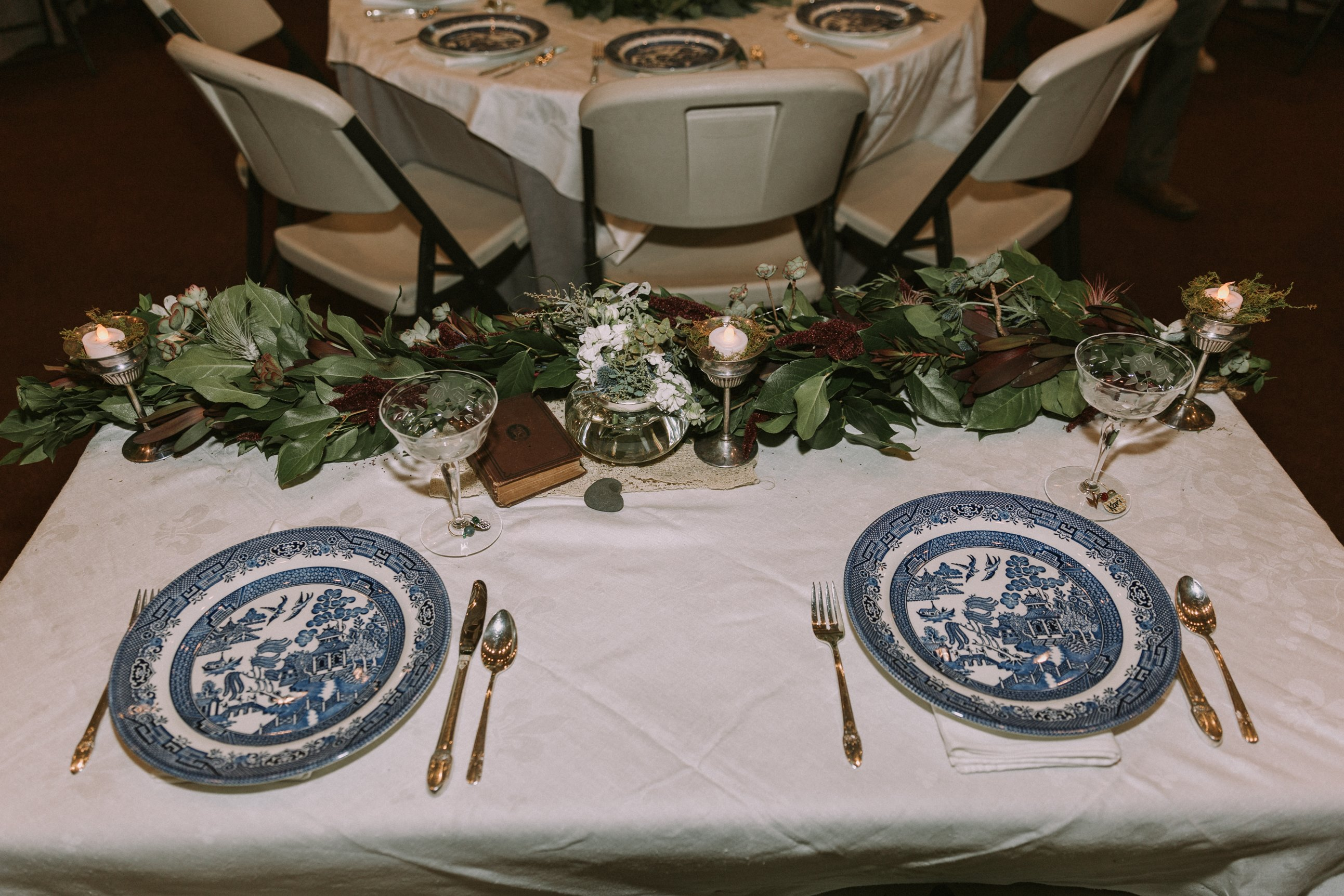 Vintage Wedding Dinner Set Up