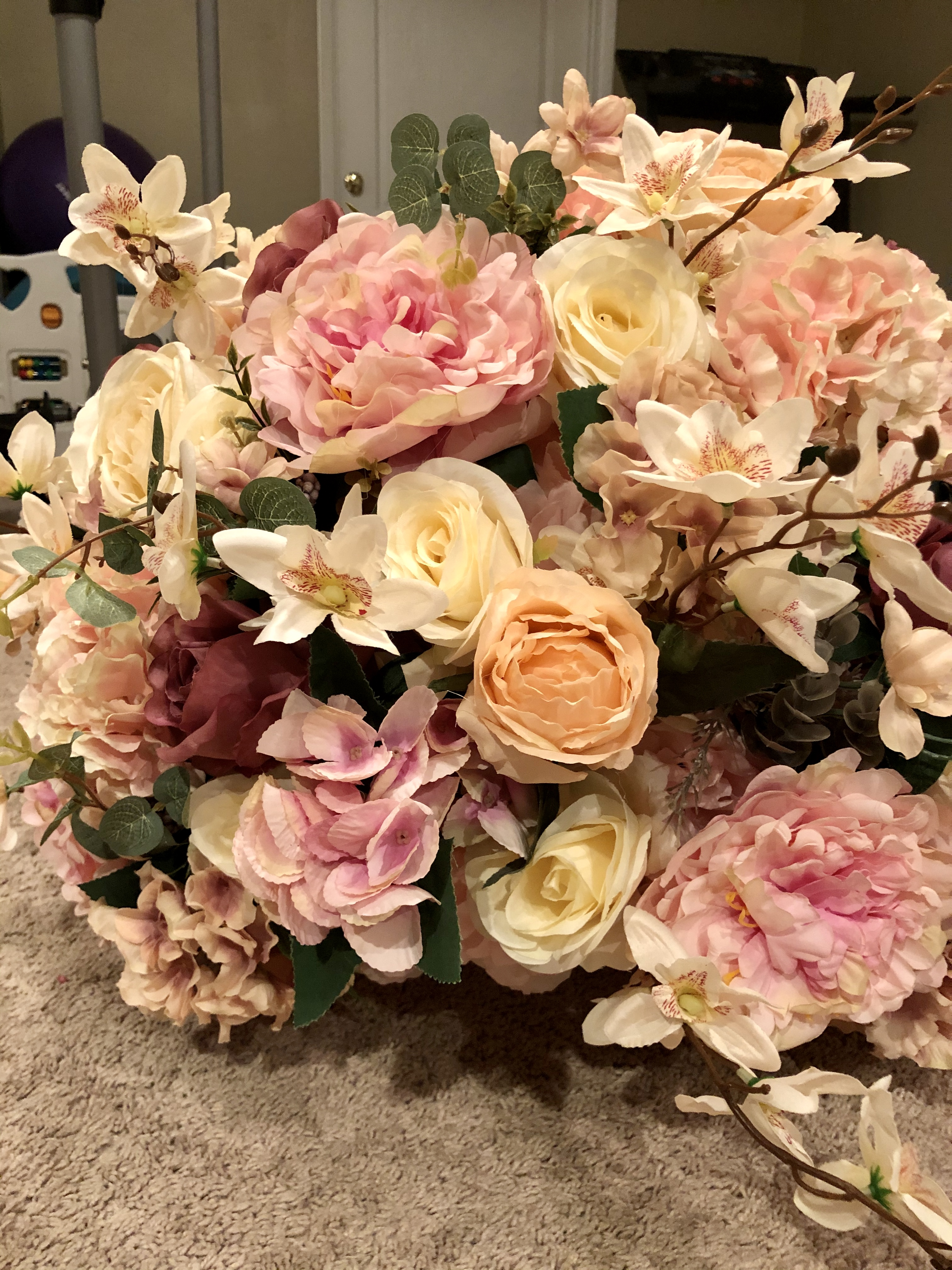 Big Faux Flower Centerpiece With Pink And Champion Garden Roses And Other Flowers