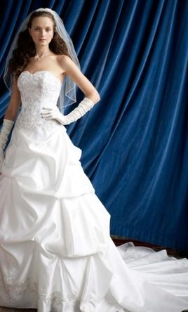 David's Bridal - Strapless Satin Wedding Dress Long Train
