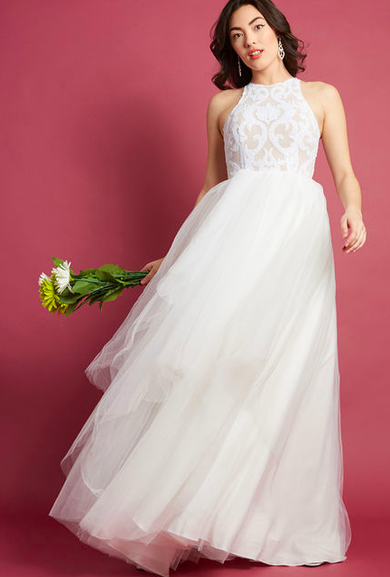 Bariano Australia - Sleeveless Wedding Gown With Full Tulle Skirt
