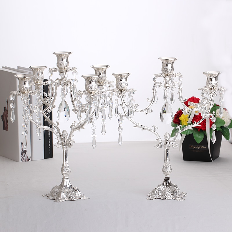 New 5 Hea Silver Candelabra With Crystals Size Wedding Centerpiece House Warming Gift