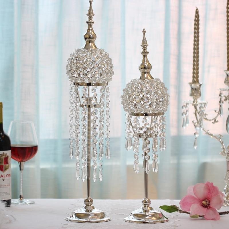 New Set Of Wedding Cascading Crystal Palace Candle Holder Set Centerpiece