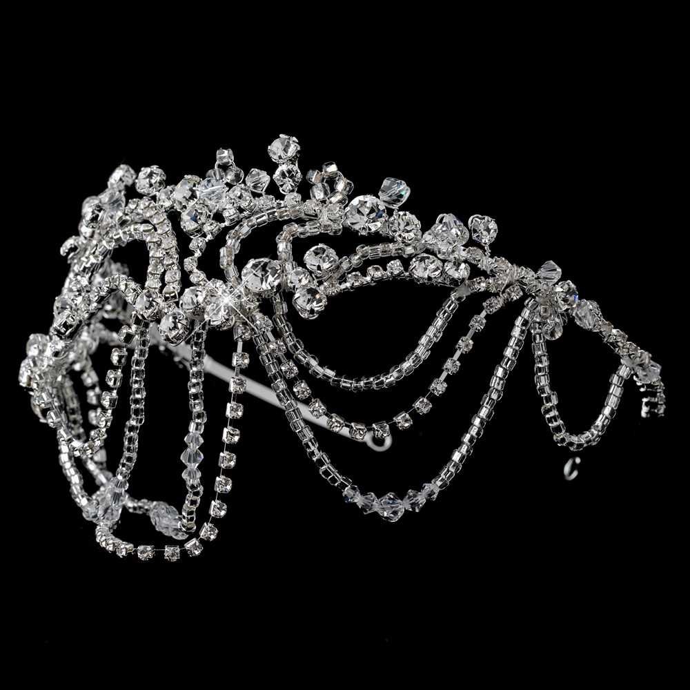 New Silver Clear Swarovski Crystal Bead & Rhinestone Headdress Draped Headband