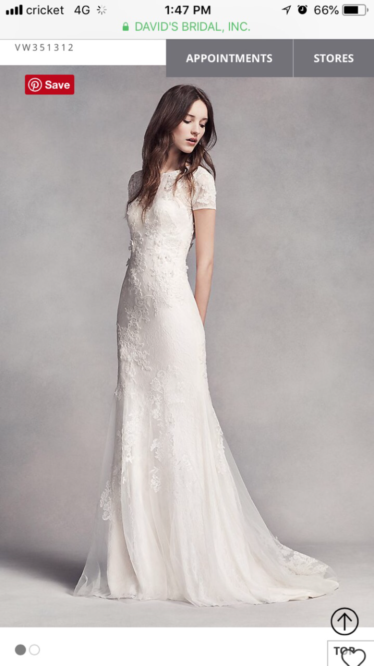 Vera Wang Short Sleeve Lace Wedding Dress