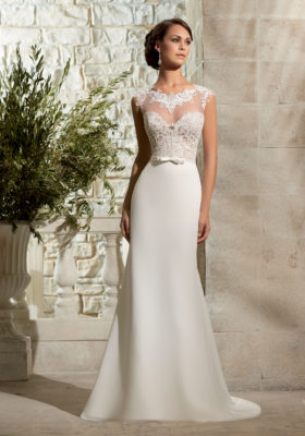 Mori Lee - Morilee Lace & Chiffon Sheath Wedding Dress